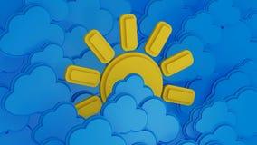 Солнце и облака иллюстрация вектора