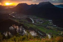 Солнце и дождь над Kufstein Стоковые Фото