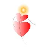 Солнце и сердца танцев Стоковые Изображения RF