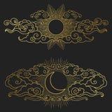 Солнце и луна в облачном небе Иллюстрация вектора нарисованная рукой Стоковые Изображения