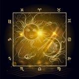 Солнце и луна карты астрологии сияющие Стоковое Изображение
