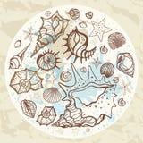 солнце моря луча fiords предпосылки Нарисованная рукой иллюстрация вектора Стоковые Изображения RF