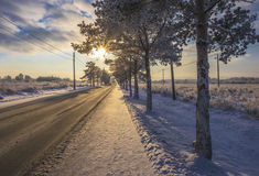 солнце дороги к Стоковые Фотографии RF