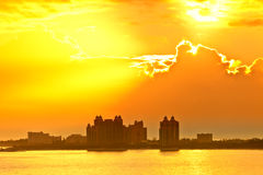 Солнце поднимая над Багамами Стоковые Фото