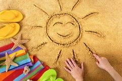 Солнце пляжа лета усмехаясь Стоковые Фото