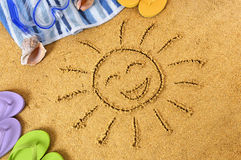 Солнце пляжа стороны Smiley Стоковые Фотографии RF