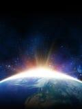 Солнце рассвета Взгляд от космоса Стоковое Изображение RF