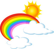 Солнце, радуга и облако Стоковое Фото