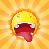 Солнце смотрит на счастливый вектор эмоции шаржа Стоковое Изображение