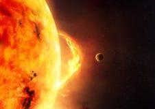 Солнце - солнечная вспышка иллюстрация вектора