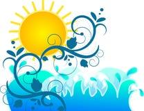 Солнце с морем и флористическими орнаментами Стоковое фото RF