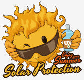 Солнце с советом заботы лета и лосьоном солнцезащитного крема, иллюстрацией вектора Стоковое Изображение