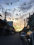Солнце установило в Songkhla, Таиланд Стоковое фото RF