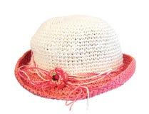Соломенная шляпа лета розовая Стоковые Изображения