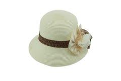 Соломенная шляпа с коричневой лентой Стоковое Фото