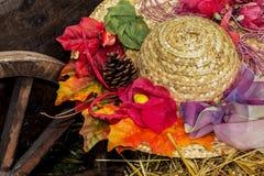 Соломенная шляпа с украшением Стоковое Изображение