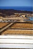 Соль береговой линии в небе камня утеса пруда Лансароте Стоковые Фотографии RF