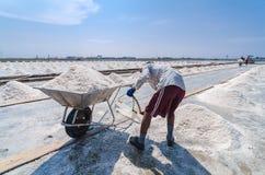 Соль моря работника черпая до тачки Стоковые Изображения