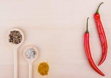 Соль, перец и карри в ложках на деревянной предпосылке и 2 ch Стоковые Изображения RF