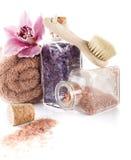 Соль для принятия ванны в botle Стоковая Фотография
