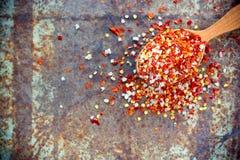 Соль Chili - смешивание приправой от высушенных хлопьев и моря красного перца Стоковое Фото