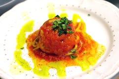Спагетти в томатном соусе Pachino стоковые фото