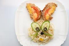 Спагетти в форме зайца Стоковые Фото