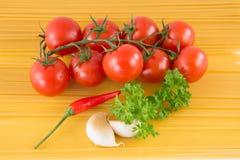 Спагетти макаронных изделий с едой итальянки томатов Стоковое Изображение RF