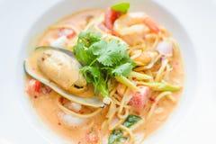 Спагетти морепродуктов Стоковая Фотография