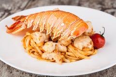 Спагетти омара, итальянская кухня Стоковое Изображение