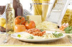 спагетти плиты Стоковое фото RF
