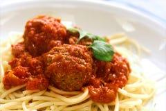 спагетти плиты meatball Стоковая Фотография RF