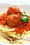 спагетти плиты meatball Стоковое Изображение RF