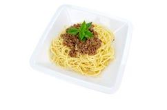 Спагетти при изолированный соус мяса Стоковое Фото