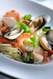 спагетти продуктов моря Стоковые Фото