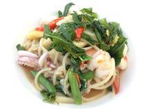 спагетти продуктов моря пряное Стоковая Фотография