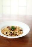Спагетти с грибом Стоковые Изображения RF