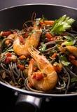 Спагетти с креветками Стоковые Изображения