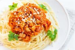 Спагетти с соусом мяса и овоща Стоковая Фотография