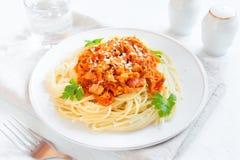Спагетти с соусом мяса и овоща Стоковые Изображения RF