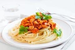 Спагетти с соусом мяса и овоща Стоковое Изображение