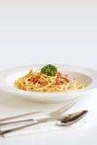 спагетти carbonara Стоковая Фотография
