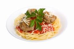 спагетти meatballs стоковое изображение rf