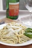 спагетти pesto обеда стоковая фотография