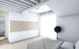 Спальня в белизне Стоковое Изображение