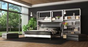 Спальня хозяев в современной вилле иллюстрация вектора
