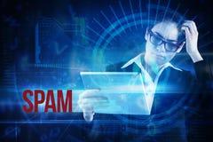 Спам против голубого интерфейса технологии с шкалой Стоковое Фото