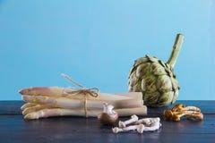 Спаржа, артишок, грибы Стоковые Изображения