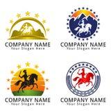 Спартанская война с логотипом концепции шпаги и лошади Стоковые Фото