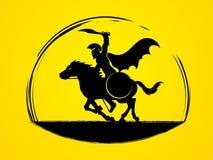 Спартанские всадники ратника с шпагой бесплатная иллюстрация